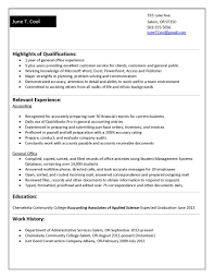 chronological functional accounting student resume examples