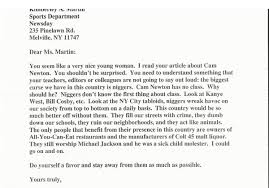 jets beat writer received this racist letter from a reader about letter