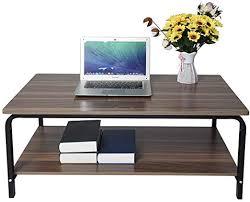 DENER 1 Meter Length Tea <b>Table</b>, Walnut Wood Color Long Simple ...