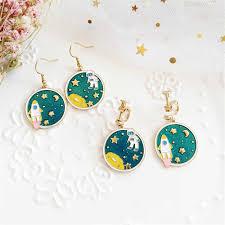 <b>Asymmetric pentagram contracted earrings</b> fashion ladies earrings ...