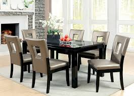 dining room table mirror top: pc sleek evant black lacquer mirror top table keyhole back chairs