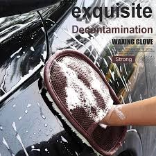 Soft <b>Car Wash Clean</b> Sponge Gloves Glass <b>Cleaner Blue</b> Wave Car ...