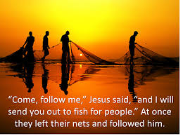Silhouette of fishermen and their nets against a sunset with the verse from the reading