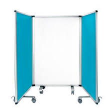 AdirOffice 42 in. x 29.25 in. Blue <b>Portable Double</b>-<b>Sided</b> 3 Panel ...