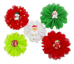 <b>5X</b> Christmas Dog Collar Charms Chiffon Flower <b>Puppy Pet</b> Xmas ...