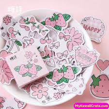 Kawaii Strawberry Flavor Stickers 45 Pc Pack ~ Pink Stickers, Girly ...