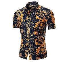 Yasyamifei Men's Floral Shirt <b>Summer</b> Casual <b>Short Sleeve Printed</b> ...