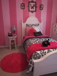 red wall paint black bed: red  feminine girl bedroom paint ideas with pink stripes wall paint and black white retro bedding set
