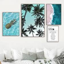 Pineapple <b>Palm Tree</b> Blue Sea Beach Quote Wall Art Canvas ...