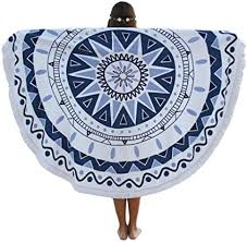 Bigood Summer <b>Round Digital Print Beach</b> Towels Pashmina Beach ...