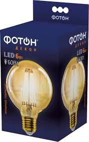 <b>Лампа светодиодная Фотон</b> Filament Decor G95, 22627, теплый ...