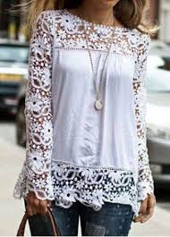 <b>Stylish Round Neck Long</b> Sleeve Spliced Hollow Out Women's Blouse
