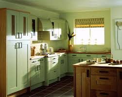 blue kitchen cabinets small painting color ideas: beautiful painted color green kitchen cabinets ideas with wooden table