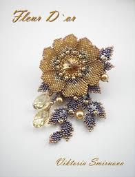 Брошь Золотой цветок | biser.i (With images) | <b>Bead</b> work jewelry ...