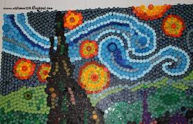 art room finished bottle cap mural starry night and what i finished bottle cap mural starry night and what i learned about making a bottle cap mural