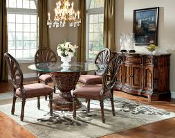Round Table Dining Room Sets Ledelle 5pc Dining Room Round Table Set Old World Brown Colonial