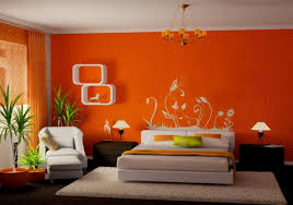 wall painting design bedroom brightly beautiful orange paint colors bedroom wall design with white florals w