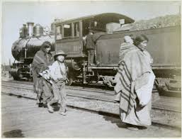 native americans · building the first transcontinental railroad a native american family pictured next to a steam locomotive late 1890s courtesy of the university of montana maureen and mike mansfield library and