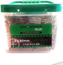 Wood Screws <b>High Performance</b> Plus <b>5 x</b> 80mm Qty 1000 <b>5</b> Free ...