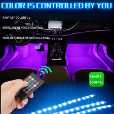 <b>LED Car Foot</b> Light Ambient Lamp Wireless Remote Control For ...