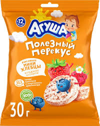 Десерт для детей <b>Агуша Хлебцы</b> Рисовые, хрустящие, с ягодным ...