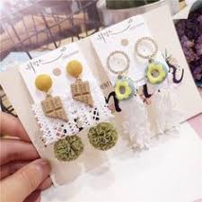 <b>Korea Handmade Cute Cartoon</b> Bowknot Flower Leaf Women Drop ...