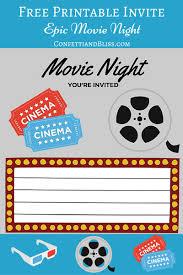 printables printable movie night invite printable movie night invites