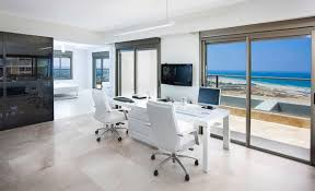 chic home office desing of beach living designed toward wide view window presenting beautiful yet refreshing chic home office design ideas models