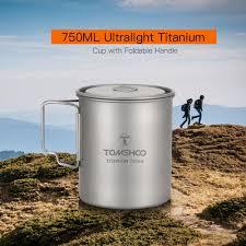 TOMSHOO Ultralight 750ml <b>Titanium</b> Cup <b>Outdoor Portable</b> ...
