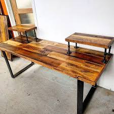 custom audio engineering desk by barnboardstorecom this pieces uses our rustic brown barn build rustic office desk