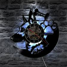 German Shepherd Dog <b>3D LED</b> Vinyl Record <b>Wall Clock</b> Modern ...
