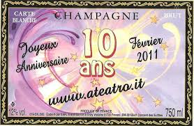 Effetti speciali: l'etichetta dello champagne imbottigliato per celebrare i 10 anni di www.ateatro.it