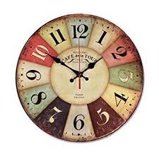 12 Inch <b>Retro Wooden Wall Clock</b> Farmhouse Decor, Silent Non ...