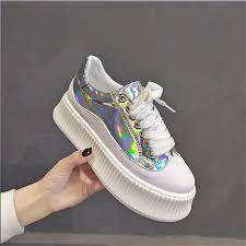 <b>MVP BOY 2019</b> NEW <b>women</b> Glossy shoes muffin heavy bottomed ...