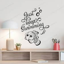 Just Keep Swimming Wall Decal <b>Art Poster</b> Fish Bathroom Quote ...