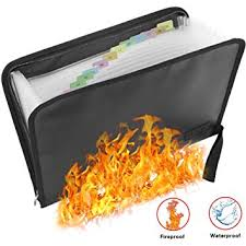 Expanding File <b>Folder Fireproof Document Bag Portable Fireproof</b> ...