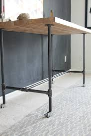 diy butcher block and pipe workbench black iron pipe table