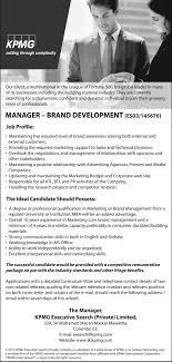 manager brand development kpmg executive search pvt job description