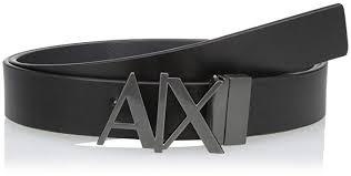 Armani Exchange <b>Men's Skinny Leather</b> Logo Belt, Black (Black ...