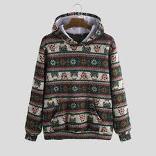 ethnic <b>pattern cartoon animal</b> mixed <b>print</b> hoodies sweatshirt at ...