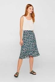Flared printed skirt in a wrap-over design at our Online Shop - Esprit