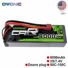<b>OVONIC 8000mAh</b> 7.4V 50C Lipo 2S Battery <b>Pack</b> Deans Plug for ...