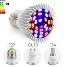 E27 E14 GU10 <b>LED Grow</b> Light <b>18W 28W</b> Full Spectrum Hydroponic ...