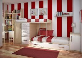 ravishing interior kids bedroom design with wooden bunk bed combined cabinet and drawer also red white carpets bedrooms ravishing home
