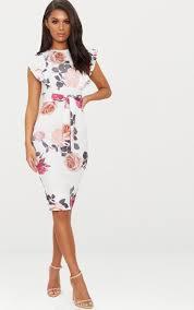 <b>White Floral Print</b> Frill Detail Midi Dress | PrettyLittleThing AUS