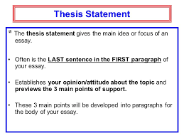 essay writing expository writing opinion essay expository essay  thesis statement  the thesis statement gives the main idea or focus of an essay