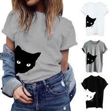 Women <b>Summer Shirts</b> Cotton Blouse Cat Print T-<b>shirt</b> Short Sleeve ...
