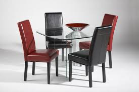 Red Dining Room Sets All Clear Glass Top Leather Modern Dining Set Denver Colorado