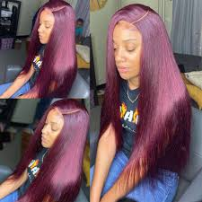 Straight 99J Burgundy Color 13x4 <b>Lace Front Wigs Human</b> Hair ...