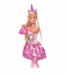 <b>Кукла Штеффи в розовом</b> платье с принтом единорог, 29 см от ...